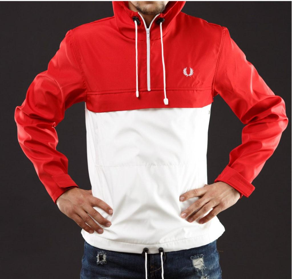 куртка анорак красная с белым