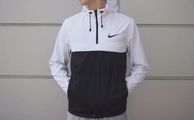куртка анорак черная с белым