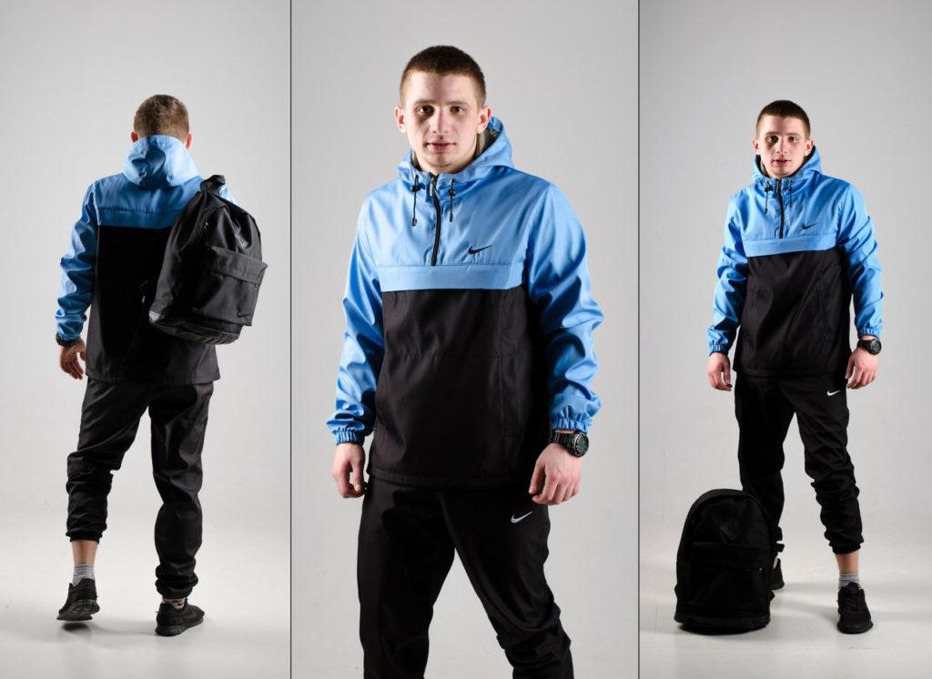 куртка анорак голубая с черным