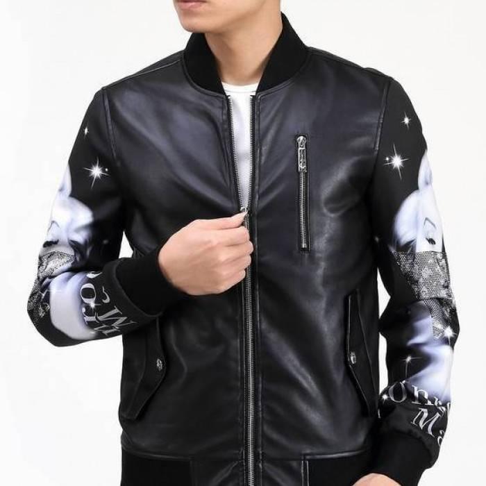 куртка бомбер кожаная черная рукава с рисунком
