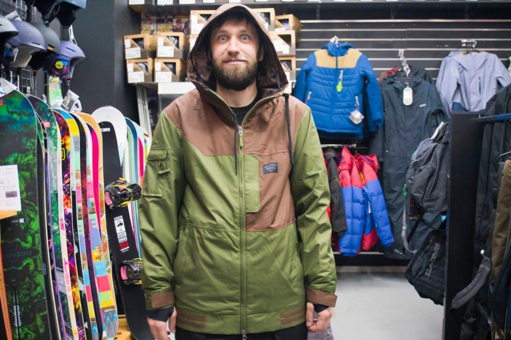 куртка сноубордическая зеленая с коричневым