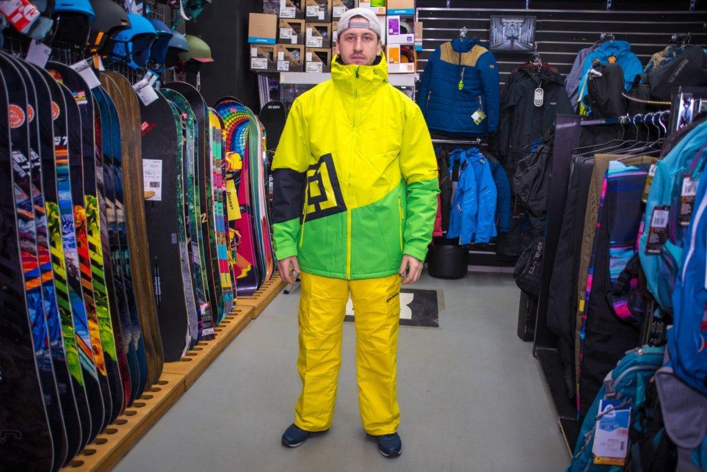 куртка сноубордическая желтая с салатовым