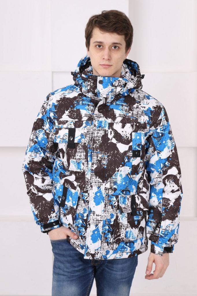 куртка сноубордическая голубая с черным и белым