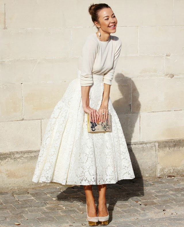 юбка-солнце белая кружевная