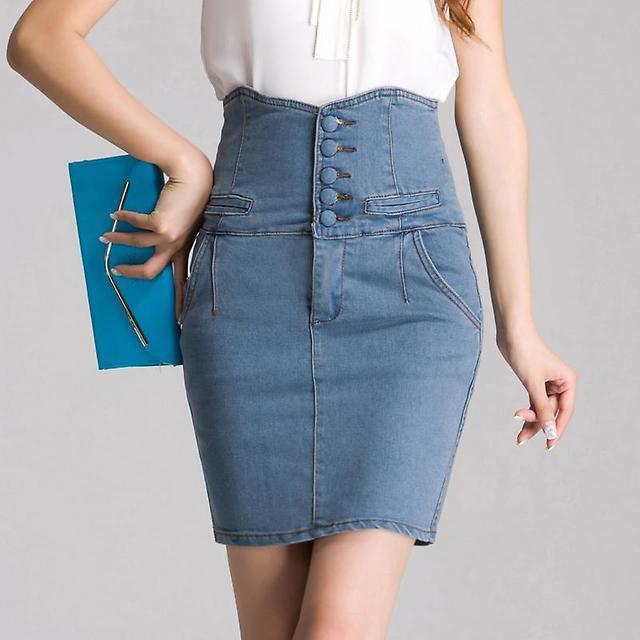 джинсовая юбка по фигуре с высоким поясом