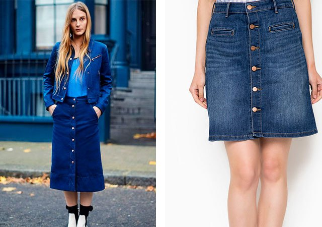 джинсовая юбка миди короткая с пуговками