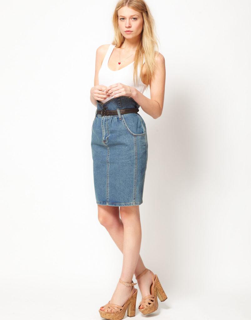 джинсовая юбка высокая талия