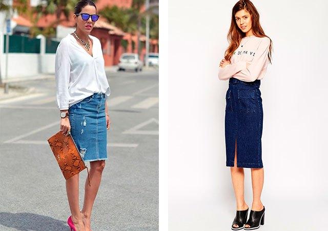 джинсовая юбка голубая синяя