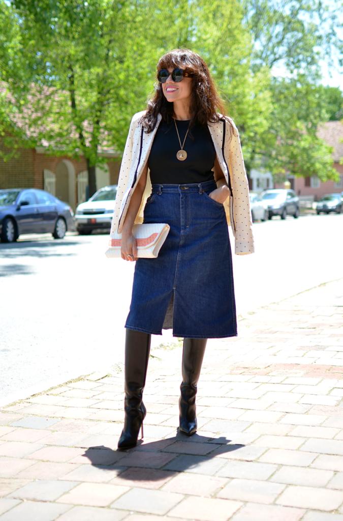 джинсовая юбка а-силуэт темно-синяя