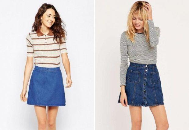джинсовые юбки коротки голубая синяя