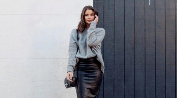 кожаная юбка карандаш черная