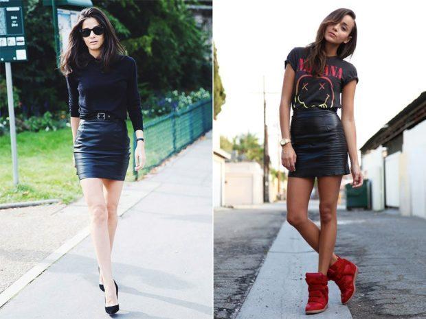 кожаная юбка короткая черная