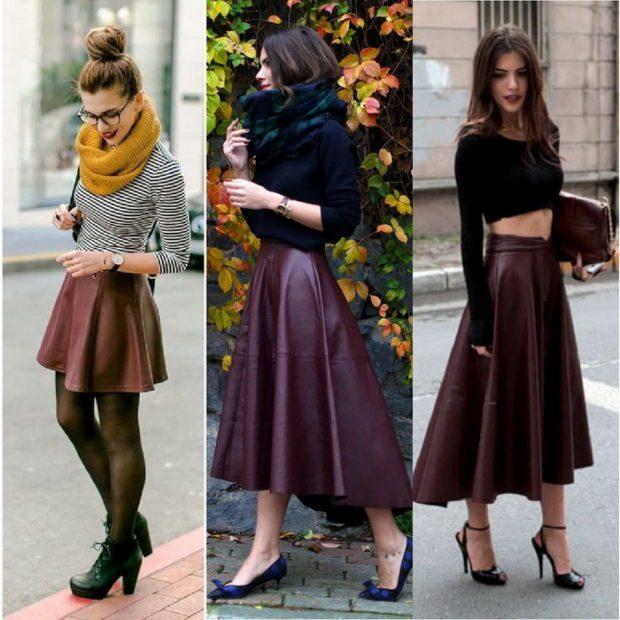 кожаная юбка короткая коричневая бордовая асимметрия