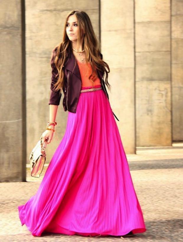 юбка-макси розовая