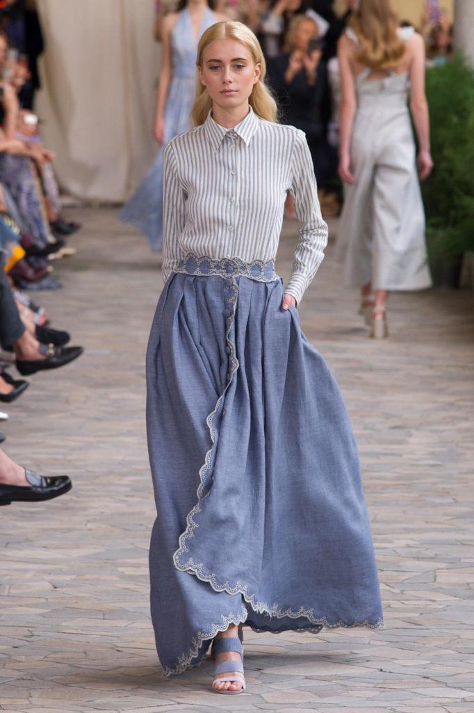 юбка-макси голубая джинсовая