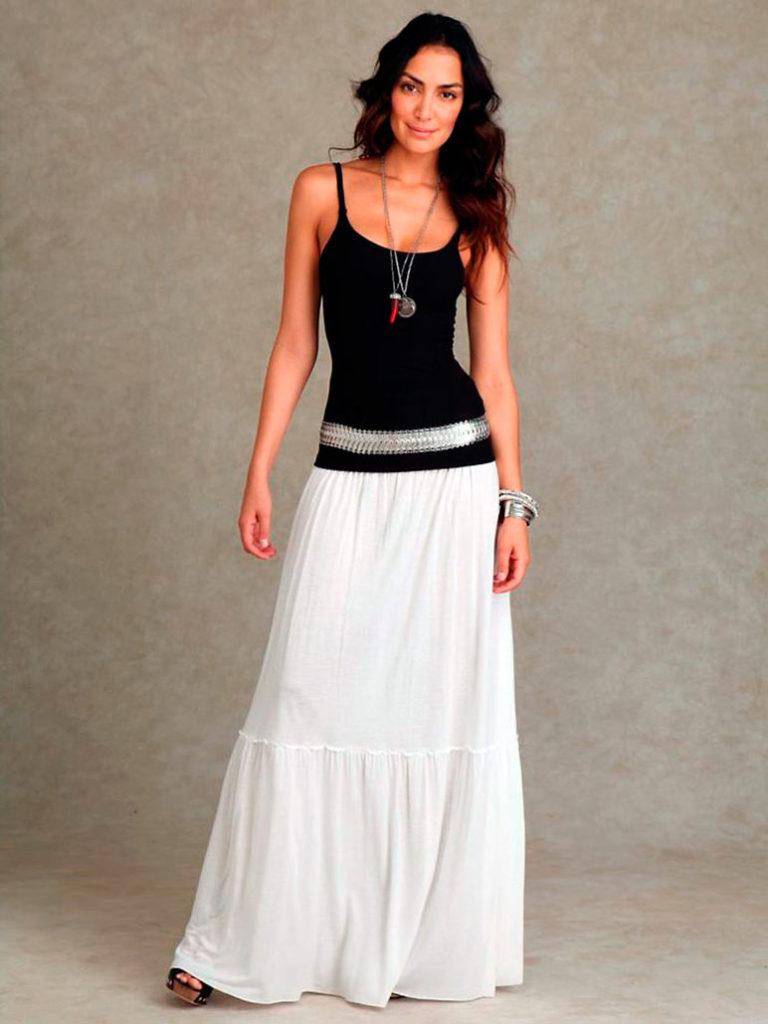 юбка-макси белая