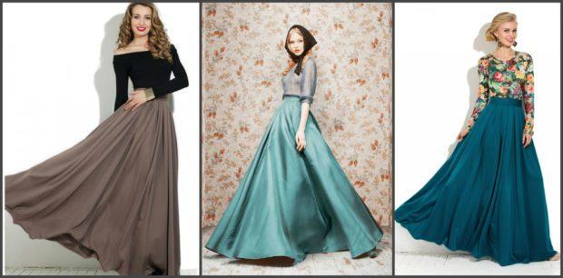 юбки-макси широкие коричневая зеленая цвет волны