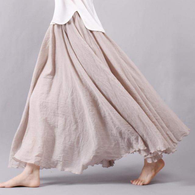 юбка-макси широкая тонкая кофейного цвета