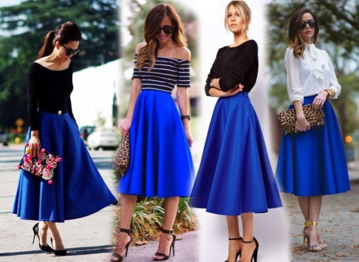 юбки-миди синего цвета широкие
