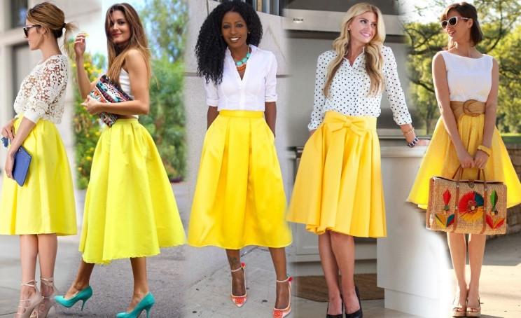 юбки-миди желтого цвета