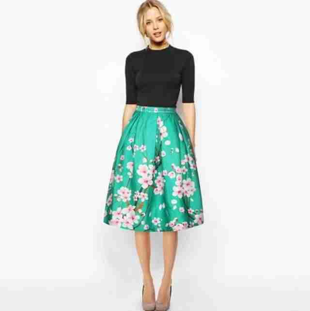 юбка миди зеленая в цветы