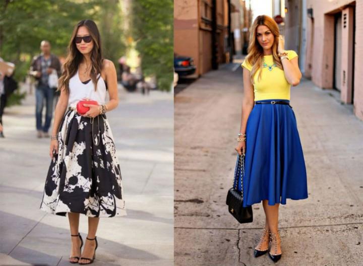 юбки-миди широкие черная в цвета синяя