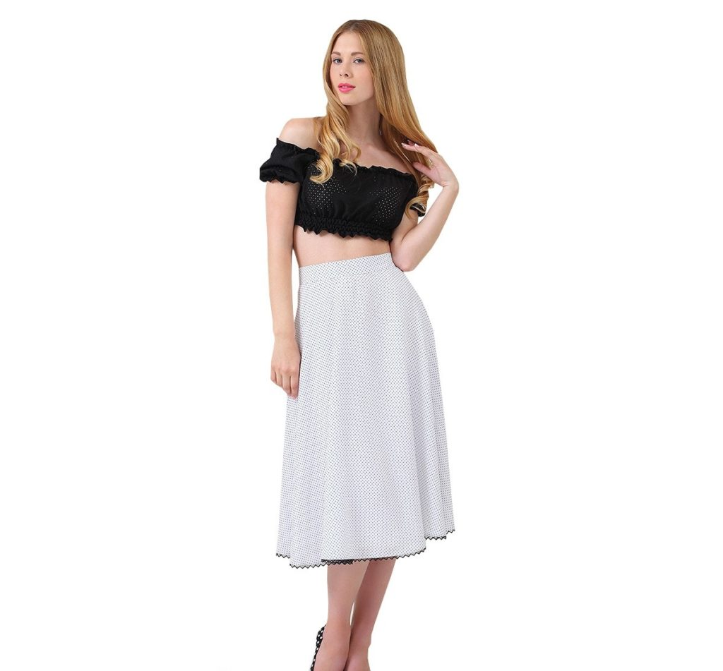 юбка-миди белая в горошек