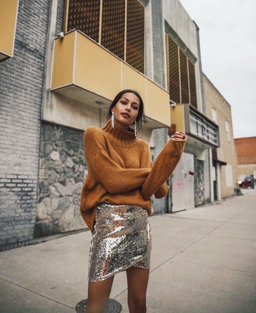 юбка-мини серебристая из пайеток
