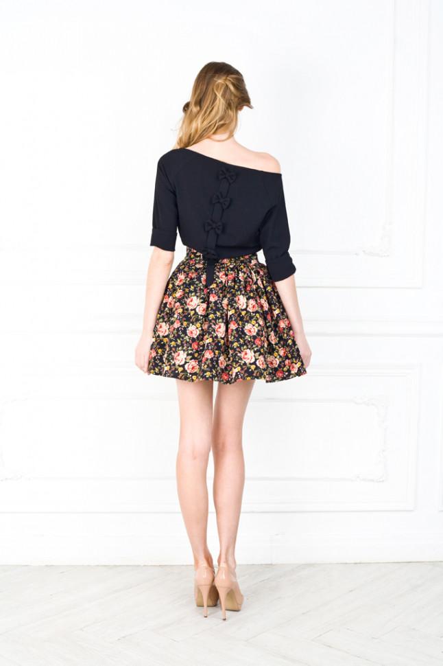 юбка-мини широкая яркая в цветы