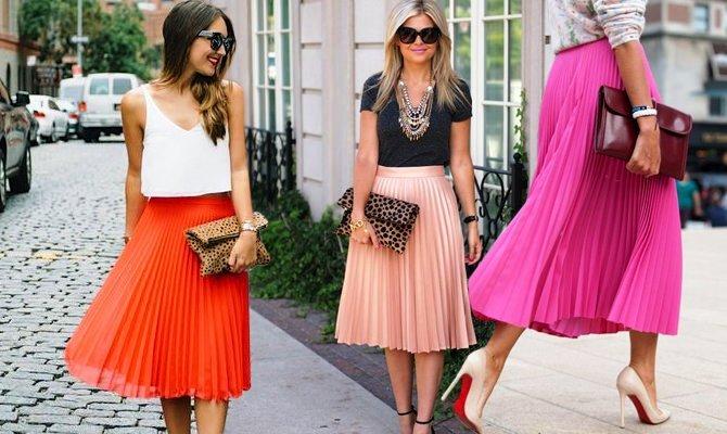плиссированная юбка красная персиковая малиновая