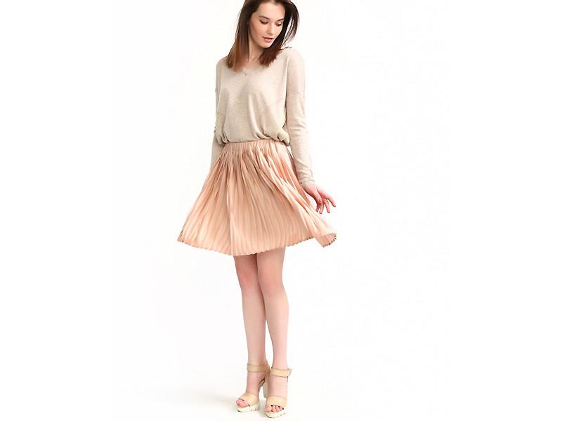 плиссированная юбка персиковая короткая