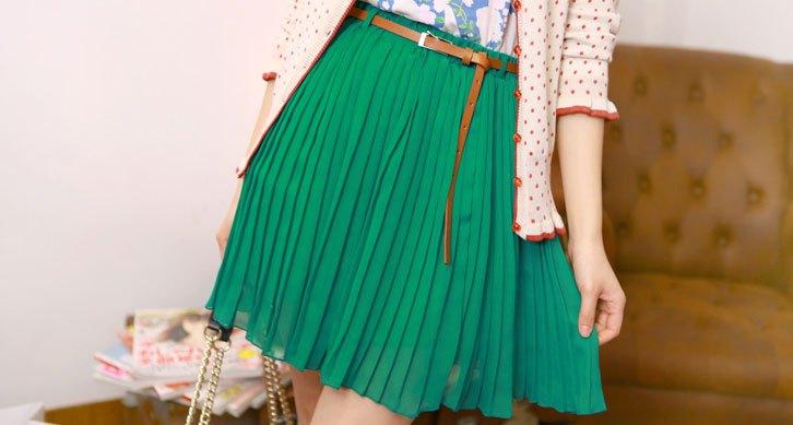 плиссированная юбка зеленая короткая