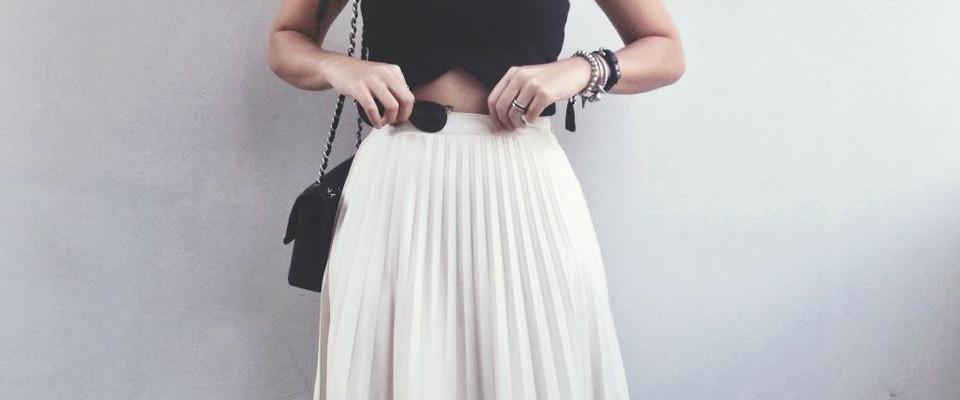 плиссированная юбка белая