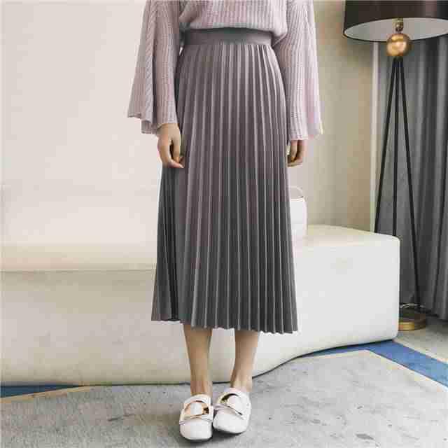 плиссированная юбка серая длина миди