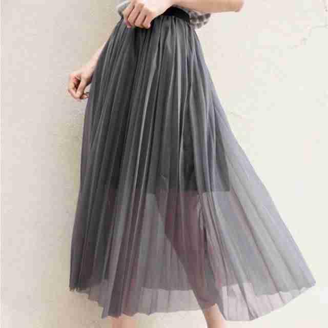 плиссированная юбка серая длина миди с шифоном