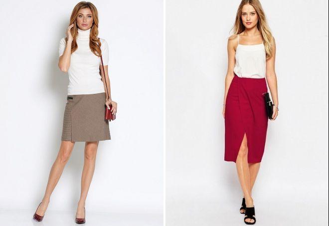 прямые юбки короткая коричневая красная по колено