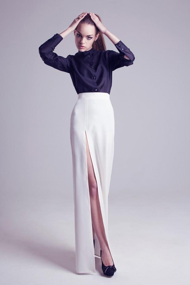 прямая длинная юбка белая