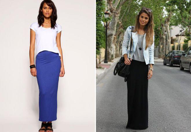 прямая юбка синяя длина миди черная длина макси