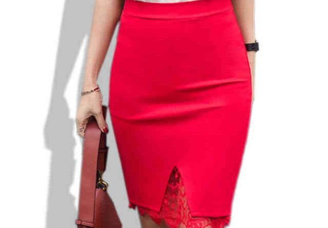 красная юбка прямая длина по колено