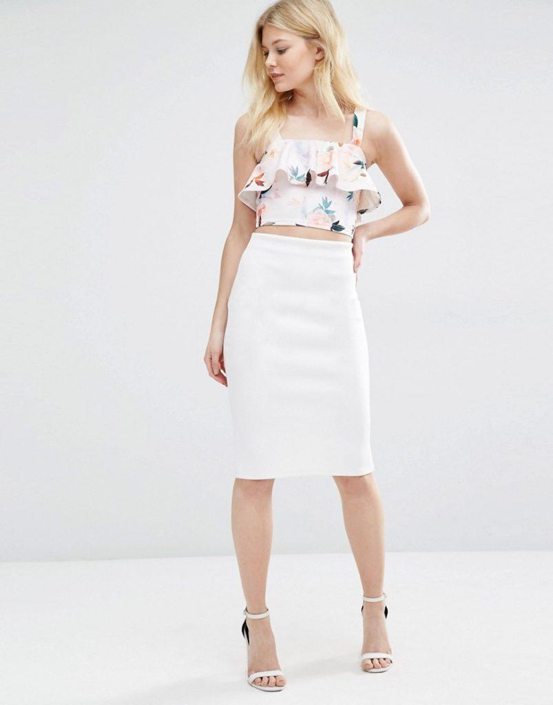 узкая юбка белая по колено