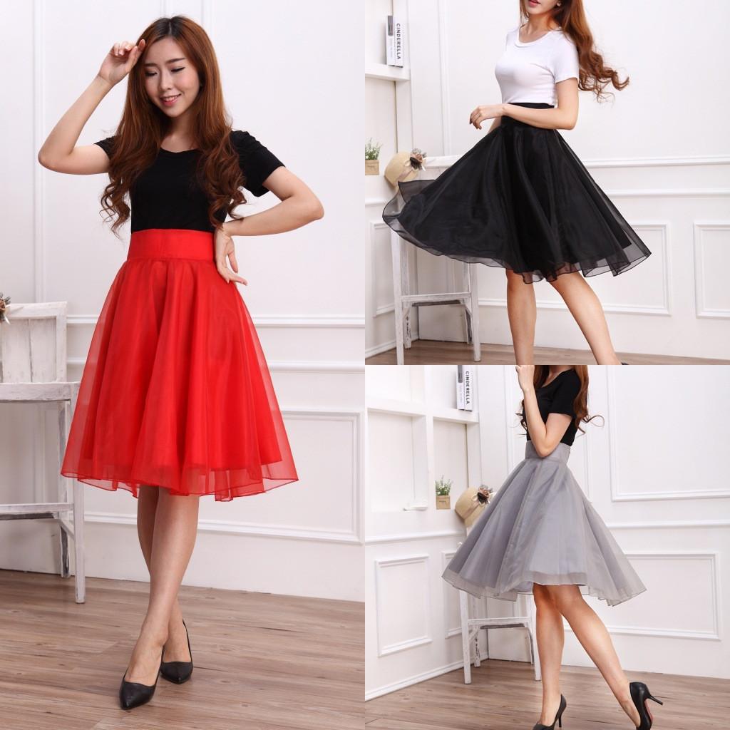 широкие юбки из фатина красная черная серая