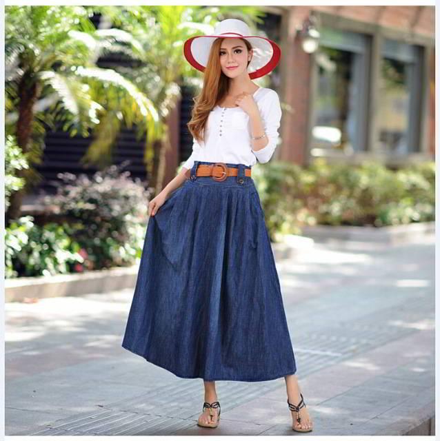 широкая юбка миди джинсовая