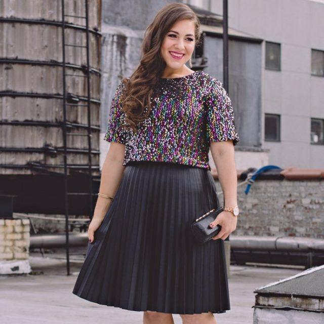 широкая юбка черная плиссированная
