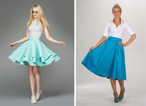 широкая юбка бирюзовая с воланами