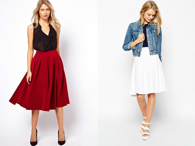 широкие юбки красная белая