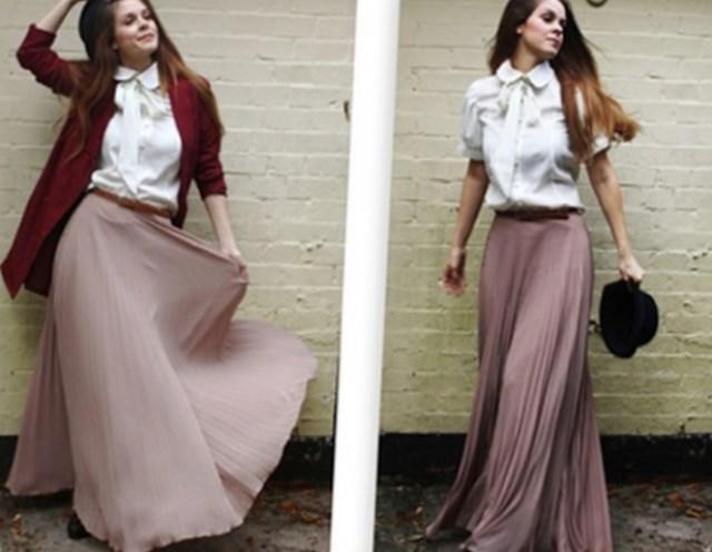 широкие юбки длина макси кофейного цвета