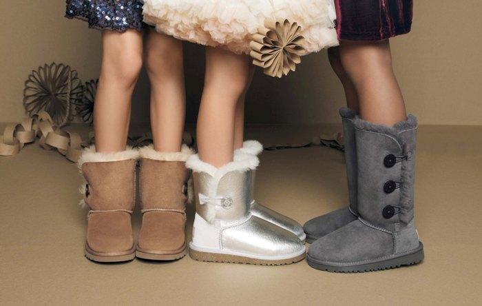 угги коричневые серебристые серые детская мода зима 2018