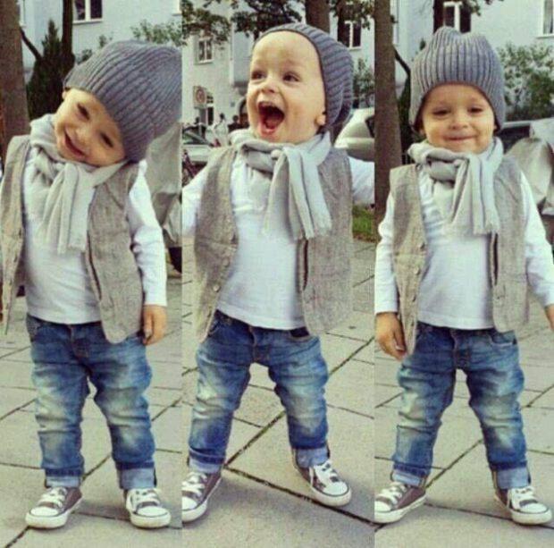 детская мода 2018-2019 - джинсы под серую толстовку