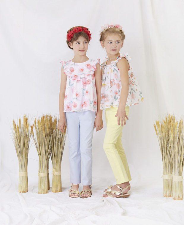 детская мода 2019-2020 - голубые желтые брюки