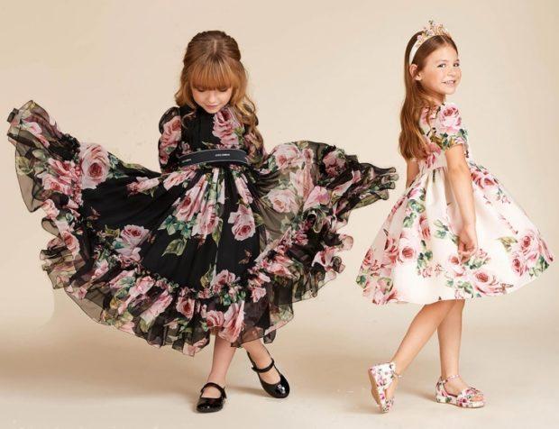 детская мода 2018-2019 для девочек - платья в цветы черное белое